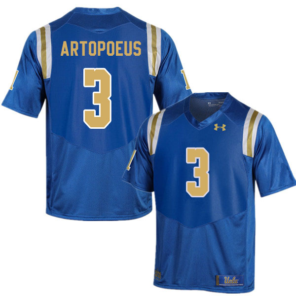 Men #3 Chase Artopoeus UCLA Bruins College Football Jerseys Sale-Blue