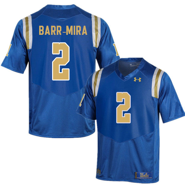 Men #2 Nicholas Barr-Mira UCLA Bruins College Football Jerseys Sale-Blue