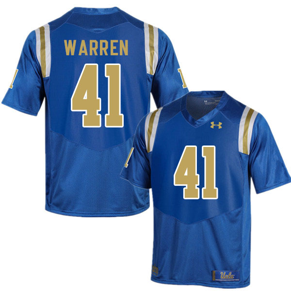 Men #41 Jelani Warren UCLA Bruins College Football Jerseys Sale-Blue