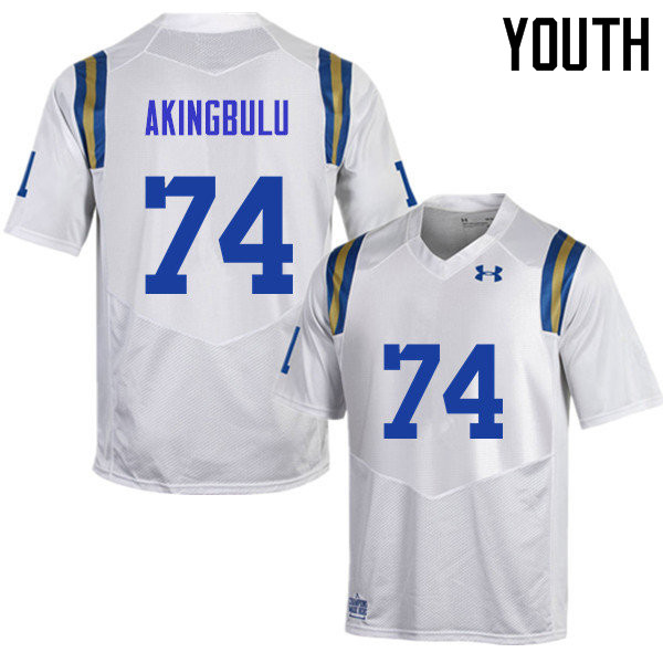 Youth #74 Alex Akingbulu UCLA Bruins Under Armour College Football Jerseys Sale-White