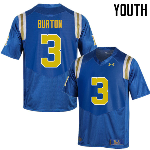 Youth #3 Brandon Burton UCLA Bruins Under Armour College Football Jerseys Sale-Blue