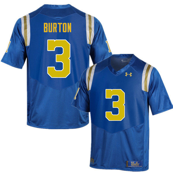 Men #3 Brandon Burton UCLA Bruins Under Armour College Football Jerseys Sale-Blue