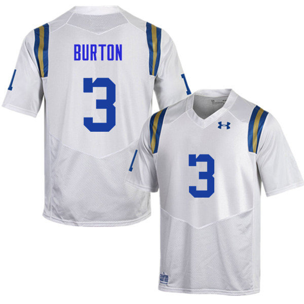 Men #3 Brandon Burton UCLA Bruins Under Armour College Football Jerseys Sale-White