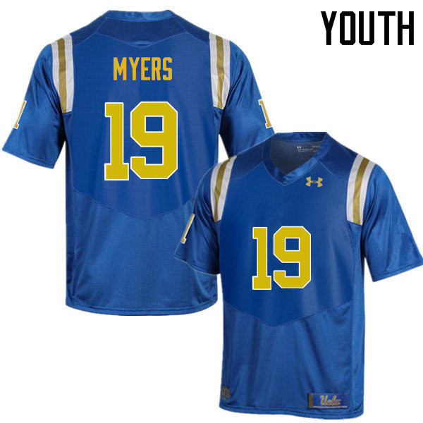 Youth #19 Craig Myers UCLA Bruins Under Armour College Football Jerseys Sale-Blue
