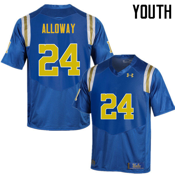 Youth #24 Damian Alloway UCLA Bruins Under Armour College Football Jerseys Sale-Blue