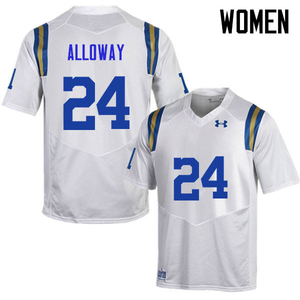 Women #24 Damian Alloway UCLA Bruins Under Armour College Football Jerseys Sale-White