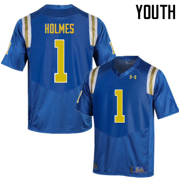 Youth #1 Darnay Holmes UCLA Bruins Under Armour College Football Jerseys Sale-Blue