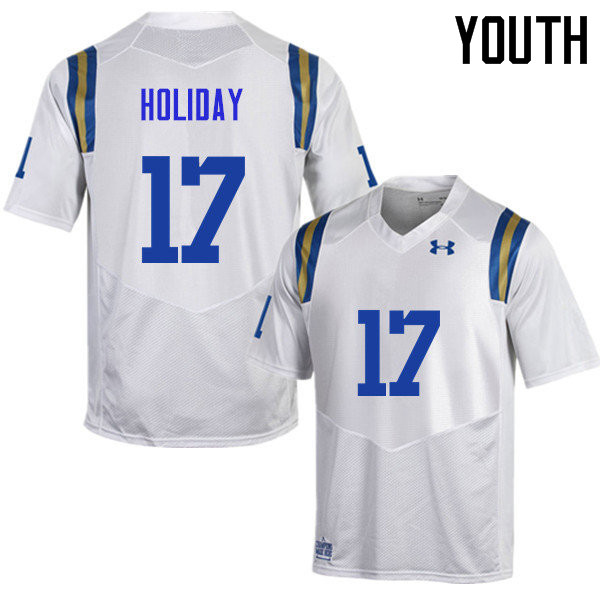 Youth #17 DeChaun Holiday UCLA Bruins Under Armour College Football Jerseys Sale-White