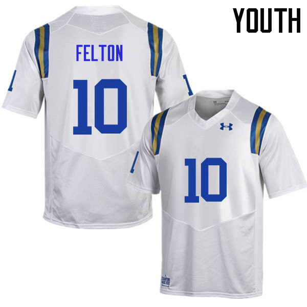 Youth #10 Demetric Felton UCLA Bruins Under Armour College Football Jerseys Sale-White