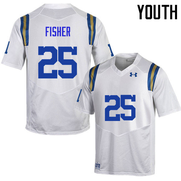 Youth #25 Denzel Fisher UCLA Bruins Under Armour College Football Jerseys Sale-White