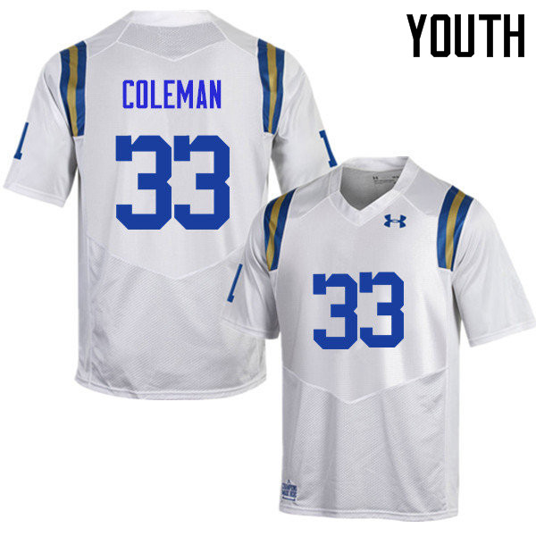 Youth #33 Derrick Coleman UCLA Bruins Under Armour College Football Jerseys Sale-White
