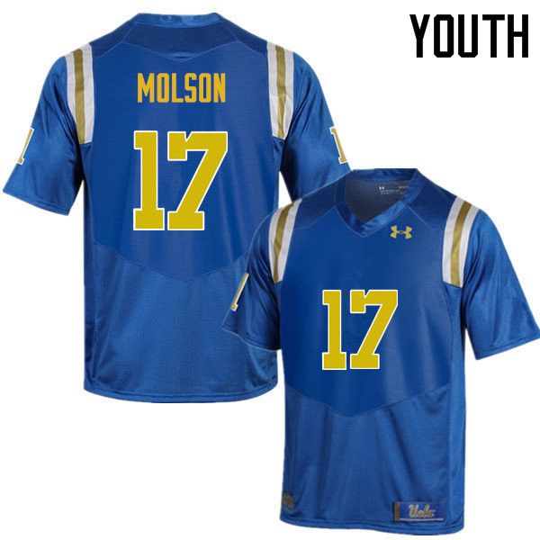 Youth #17 JJ Molson UCLA Bruins Under Armour College Football Jerseys Sale-Blue