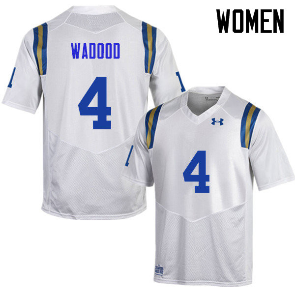 Women #4 Jaleel Wadood UCLA Bruins Under Armour College Football Jerseys Sale-White