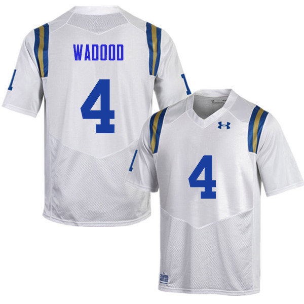 Men #4 Jaleel Wadood UCLA Bruins Under Armour College Football Jerseys Sale-White