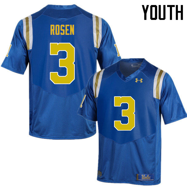 Youth #3 Josh Rosen UCLA Bruins Under Armour College Football Jerseys Sale-Blue