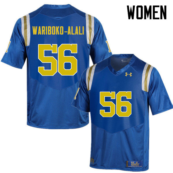 Women #56 Josh Wariboko-Alali UCLA Bruins Under Armour College Football Jerseys Sale-Blue