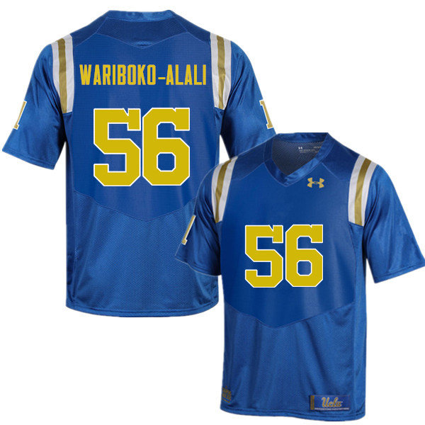Men #56 Josh Wariboko-Alali UCLA Bruins Under Armour College Football Jerseys Sale-Blue