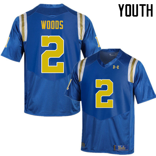 Youth #2 Josh Woods UCLA Bruins Under Armour College Football Jerseys Sale-Blue