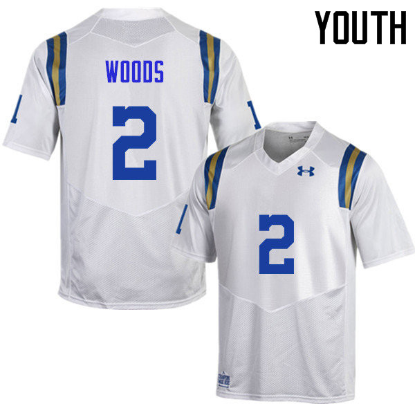 Youth #2 Josh Woods UCLA Bruins Under Armour College Football Jerseys Sale-White