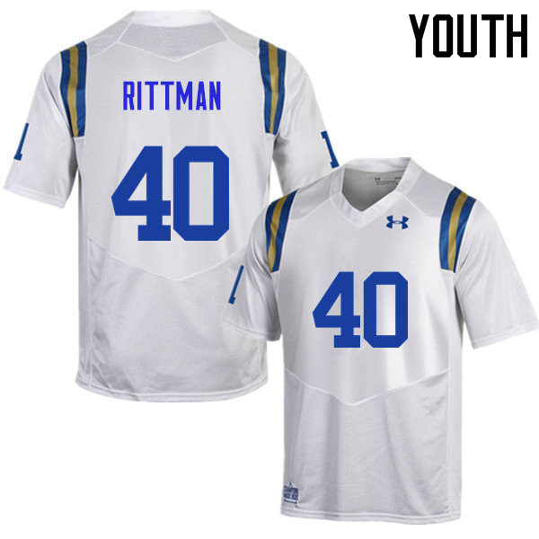 Youth #40 Justin Rittman UCLA Bruins Under Armour College Football Jerseys Sale-White