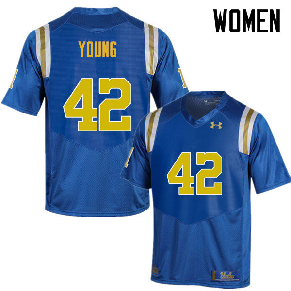 Women #42 Kenny Young UCLA Bruins Under Armour College Football Jerseys Sale-Blue