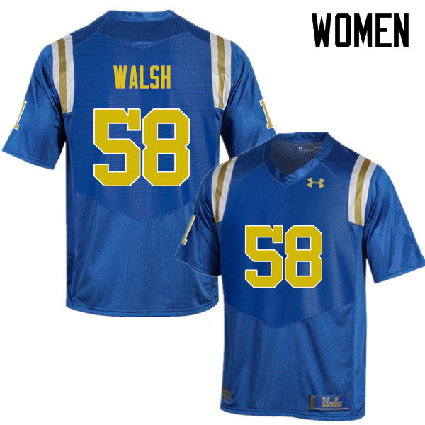 Women #58 Koby Walsh UCLA Bruins Under Armour College Football Jerseys Sale-Blue