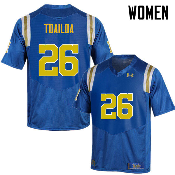 Women #26 Leni Toailoa UCLA Bruins Under Armour College Football Jerseys Sale-Blue