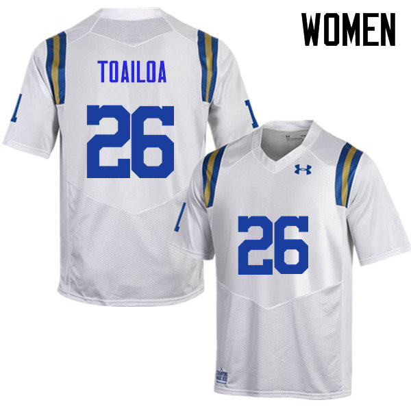 Women #26 Leni Toailoa UCLA Bruins Under Armour College Football Jerseys Sale-White