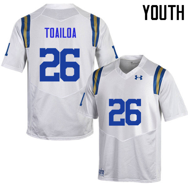 Youth #26 Leni Toailoa UCLA Bruins Under Armour College Football Jerseys Sale-White