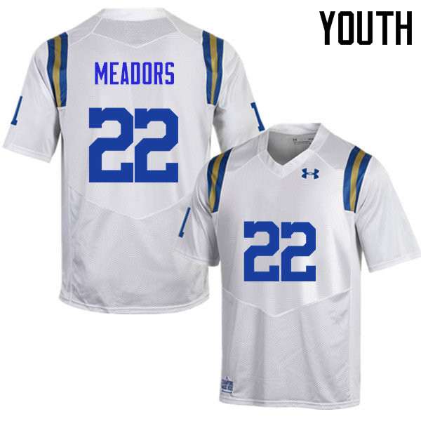 Youth #22 Nate Meadors UCLA Bruins Under Armour College Football Jerseys Sale-White