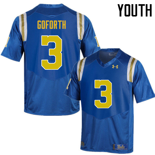 Youth #3 Randall Goforth UCLA Bruins Under Armour College Football Jerseys Sale-Blue