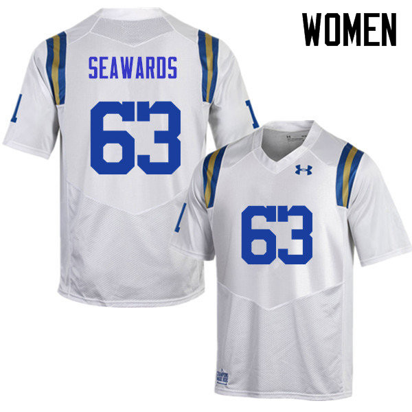 Women #63 Sean Seawards UCLA Bruins Under Armour College Football Jerseys Sale-White