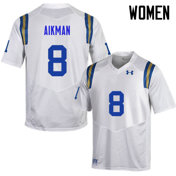 Women #8 Troy Aikman UCLA Bruins Under Armour College Football Jerseys Sale-White