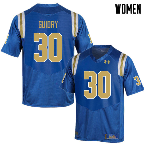 Women #30 Elisha Guidry UCLA Bruins College Football Jerseys Sale-Blue