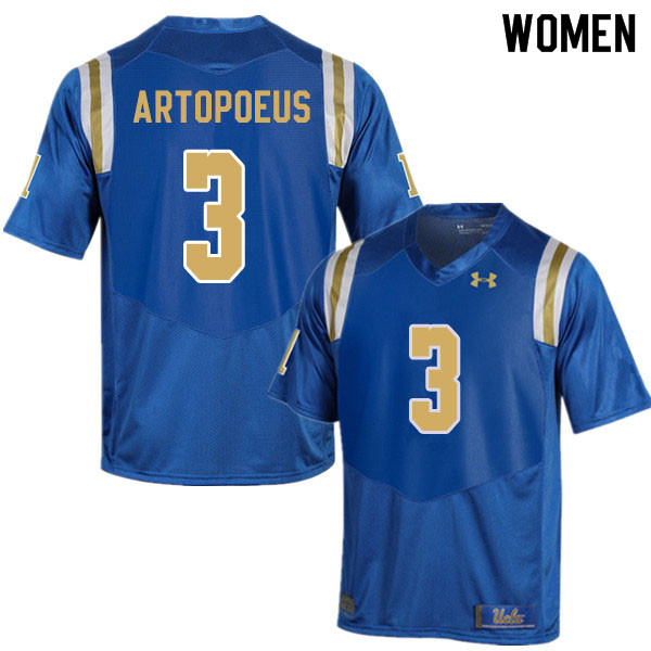 Women #3 Chase Artopoeus UCLA Bruins College Football Jerseys Sale-Blue