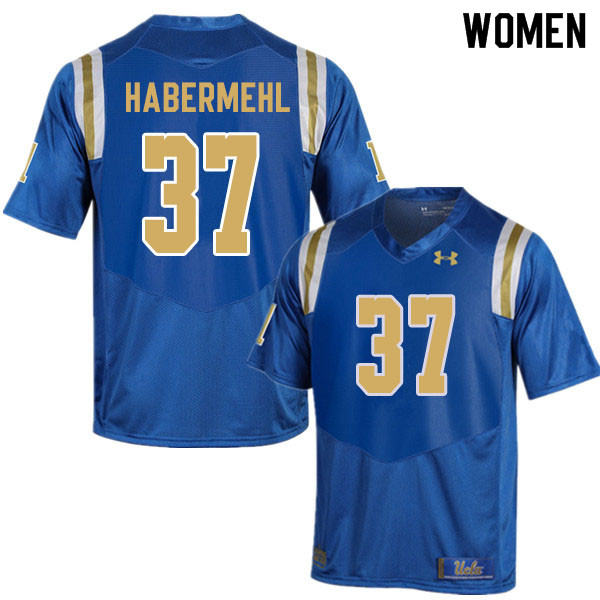Women #37 Hudson Habermehl UCLA Bruins College Football Jerseys Sale-Blue