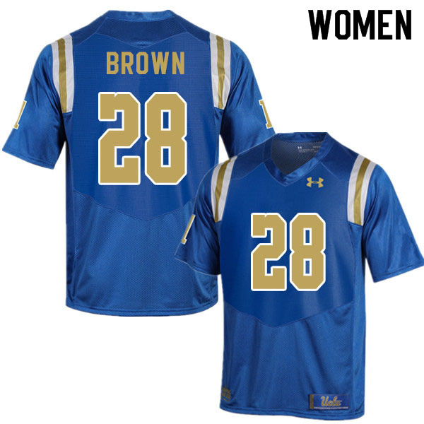 Women #28 Brittain Brown UCLA Bruins College Football Jerseys Sale-Blue