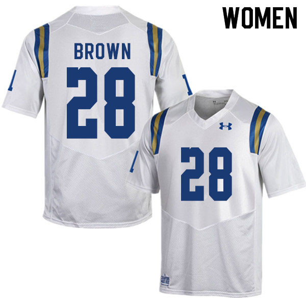 Women #28 Brittain Brown UCLA Bruins College Football Jerseys Sale-White