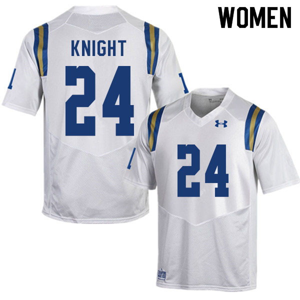 Women #24 Qwuantrezz Knight UCLA Bruins College Football Jerseys Sale-White