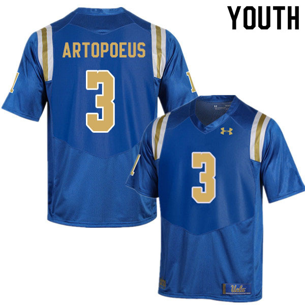 Youth #3 Chase Artopoeus UCLA Bruins College Football Jerseys Sale-Blue
