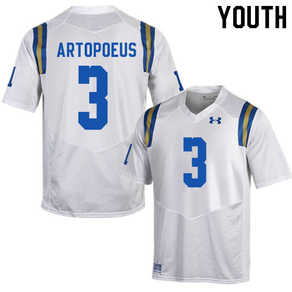 Youth #3 Chase Artopoeus UCLA Bruins College Football Jerseys Sale-White