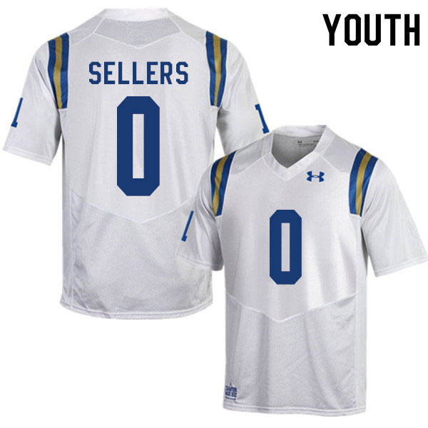 Youth #0 Damian Sellers UCLA Bruins College Football Jerseys Sale-White