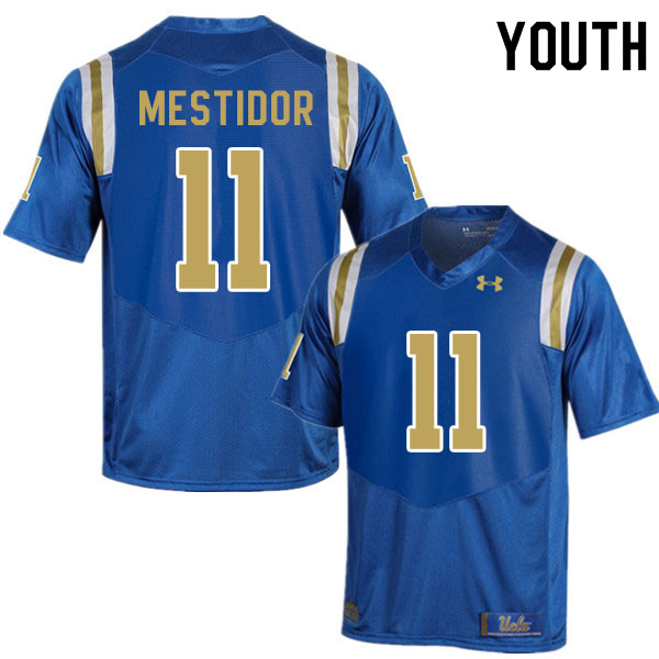 Youth #11 Kenny Mestidor UCLA Bruins College Football Jerseys Sale-Blue